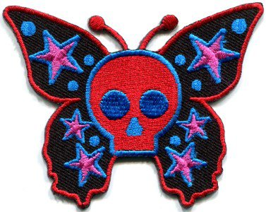 Butterfly skull horror goth emo punk biker applique iron-on patch S-181