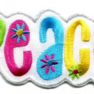 Peace sign hippie retro boho love weed flower power applique iron-on patch Small S-32
