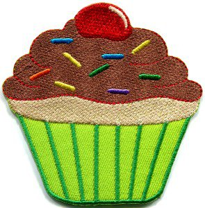 Cupcake retro fairy cake cup sweets desert applique iron-on patch S-204