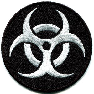 Biohazard symbol sign danger poison toxic warning applique iron-on patch S-241