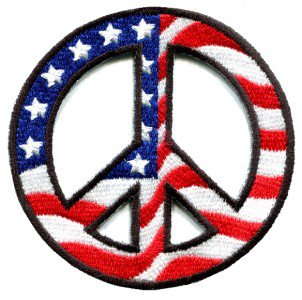 Peace sign American flag hippie retro peace love weed pot iron-on patch S-27
