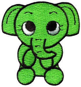 Elephant calf baby pachyderm animal wildlife green applique iron-on patch S-217