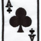 Ace of Clubs playing cards retro biker rat pack applique iron-on patch S-7