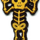 Skull skeleton goth punk emo horror biker sew applique iron-on patch S-484