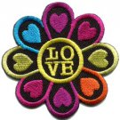 Flower power hippie love retro boho applique iron-on patch S-121
