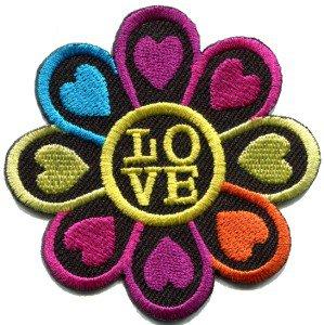 Flower power hippie love retro boho applique iron-on patch S-121