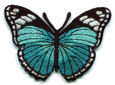 Butterfly turquoise hippie retro boho embroidered applique iron-on patch S-164