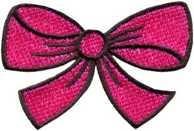 Hot pink bow knot ribbon boho retro sew sewing applique iron-on patch S-443