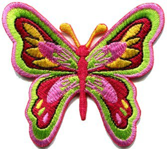 Butterfly hippie 70s weed applique iron-on patch S-178