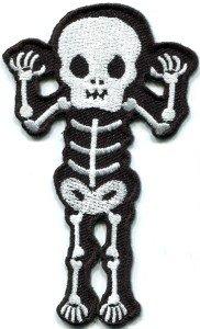 Skull skeleton goth punk emo horror biker sew applique iron-on patch S-427
