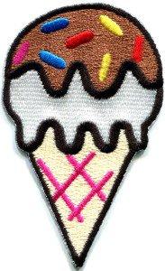 Ice cream cone retro fun kids sweets dessert applique iron-on patch S-201