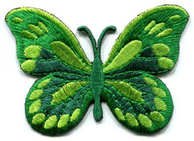 Butterfly green hippie retro boho embroidered applique iron-on patch S-166