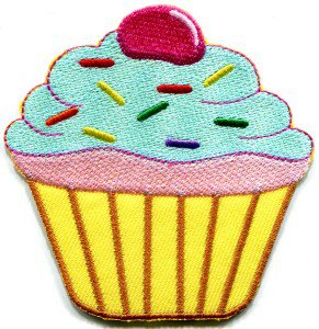 Cupcake retro fairy cake cup sweets desert applique iron-on patch S-205