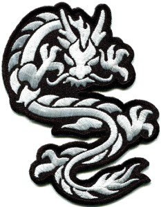 Chinese dragon kung fu martial arts biker tattoo applique iron-on patch S-396