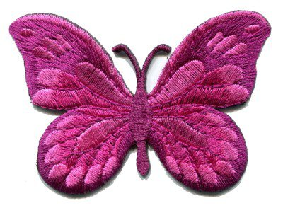 Butterfly pink hippie retro boho embroidered applique iron-on patch S-170