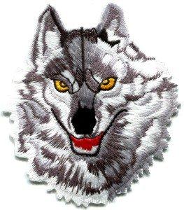 Wolf wolves biker retro wildlife embroider applique iron-on patch S-237