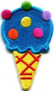 Ice cream cone 70s retro fun desert sweets kids applique iron-on patch S-381