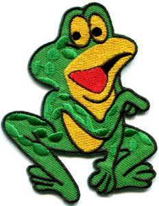 Frog toad hippie retro fun applique iron-on patch S-231