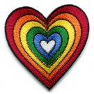 Heart love gay lesbian pride rainbow flag LGBT applique iron-on patch S-130