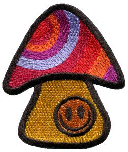 Mushroom smiley face retro hippie boho peace weed applique iron-on patch S-82