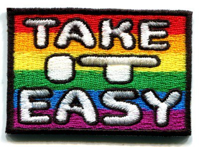 Take it Easy 70's retro hippie weed gay lesbian rainbow LGBT iron-on patch S-140
