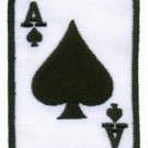 Ace of Clubs red playing cards retro biker rat pack applique iron-on patch S-13