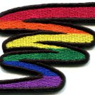 Gay lesbian pride squiggle rainbow flag retro LGBT applique iron-on patch S-137
