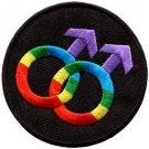 Gay pride symbol rainbow retro disco fab LGBT applique iron-on patch S-142
