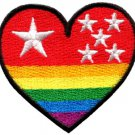 Gay lesbian pride heart rainbow flag LGBT retro applique iron-on patch S-139