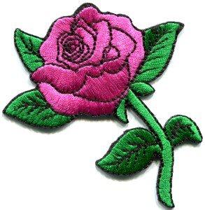 Rose tattoo biker retro boho love applique iron-on patch pink S-195
