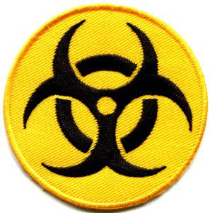 Biohazard symbol sign danger poison toxic warning applique iron-on patch S-240