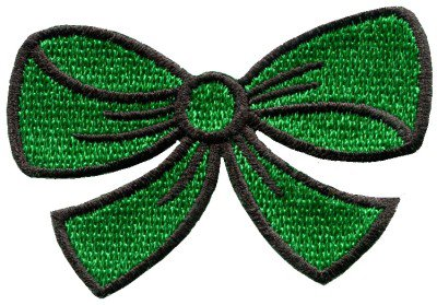 Green bow knot ribbon boho retro sew sewing applique iron-on patch S-444