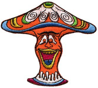Mushroom boho hippie retro love peace weed trance applique iron-on patch S-59