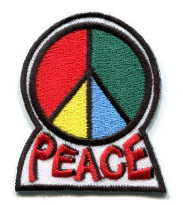 Peace sign hippie retro boho love weed flower power applique iron-on patch S-28