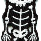 Skull skeleton goth punk emo horror biker applique iron-on patch S-258