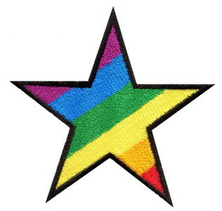 Star gay pride 70's retro disco fab superstar applique iron-on patch S-143