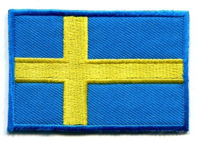 Flag of Sweden Swedish applique iron-on patch Medium S-97