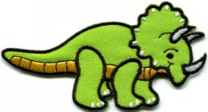Triceratops dinosaur kids fun applique iron-on patch S-300