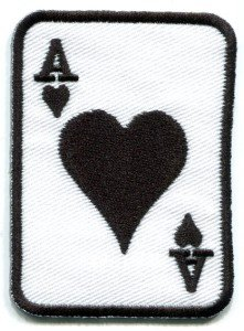 Ace of Clubs playing cards retro biker rat pack applique iron-on patch S-11