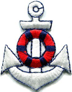 Anchor tattoo navy biker retro ship boat sea sew applique iron-on patch S-402