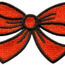 Orange bow knot ribbon boho retro sew sewing applique iron-on patch S-437