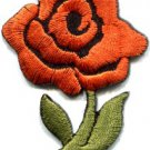 Orange rose tattoo biker love retro boho sew sewing applique iron-on patch S-448