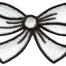 White bow knot ribbon boho retro sew sewing applique iron-on patch S-445
