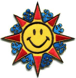 Sun smiley face hippie groovy 70s retro boho applique iron-on patch S-302