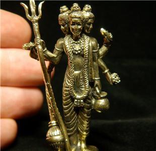 Hindu Datta Shiva Siva Brahma Vishnu Trimurti brass amulet figurine statue new