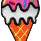Ice cream cone retro fun kids sweets dessert applique iron-on patch S-199