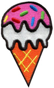 Ice cream cone retro fun kids sweets dessert applique iron-on patch S-199