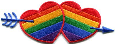 Gay lesbian pride rainbow flag love hearts LGBT applique iron-on patch S-138