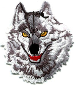 Wolf wolves biker applique iron-on patch new Small S-237
