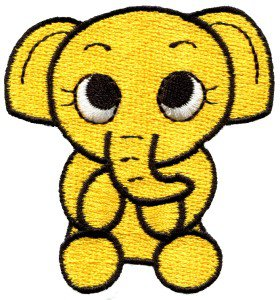 Elephant calf baby pachyderm animal wildlife yellow applique iron-on patch S-216